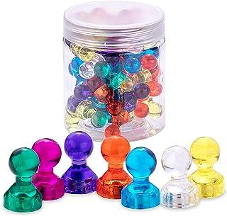 60x Punaises Magnétiques Néodyme colorés, aimants pour réfrigérateur, tableau blanc, photos ou cartes, 11 x 17 mm