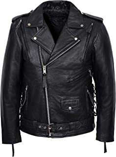 Men's Live to Ride Eagle Black Casual Real Hide Biker Motorcycle Leather Jacket MBF
