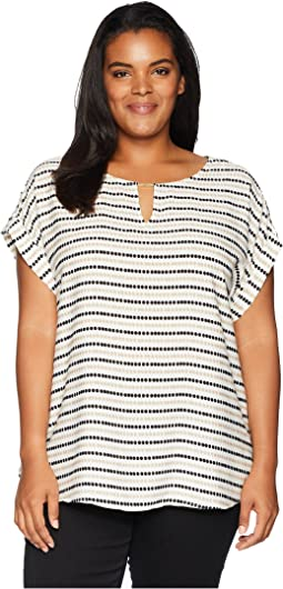 Plus Size Printed Short Sleeve Top w/ Bar Hardware