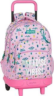 Mochila Escolar con Carro Incluido y Espalada Acolchada de Moos, Multicolor (Paradise)