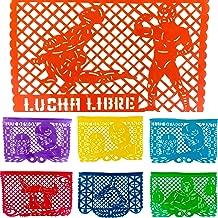 TexMex Fun Stuff Mexican Fiesta Decorations Plastic Papel Picado Banner | Lucha Libre Festival Garland 16 Feet Long | Multi Colored Mexicano Party Supplies featuring Los Luchadores Blue Demon & Santo