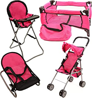 Mommy & Me Doll Collection 4 In 1 Baby Doll Accessories Mega Deluxe Playset with Doll Stroller, Doll High Chair, Doll Boun...