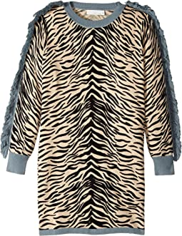 Stella McCartney Kids - Rita Zebra Striped Knit Dress w/ Fringed Sleeves (Little Kids/Big Kids)