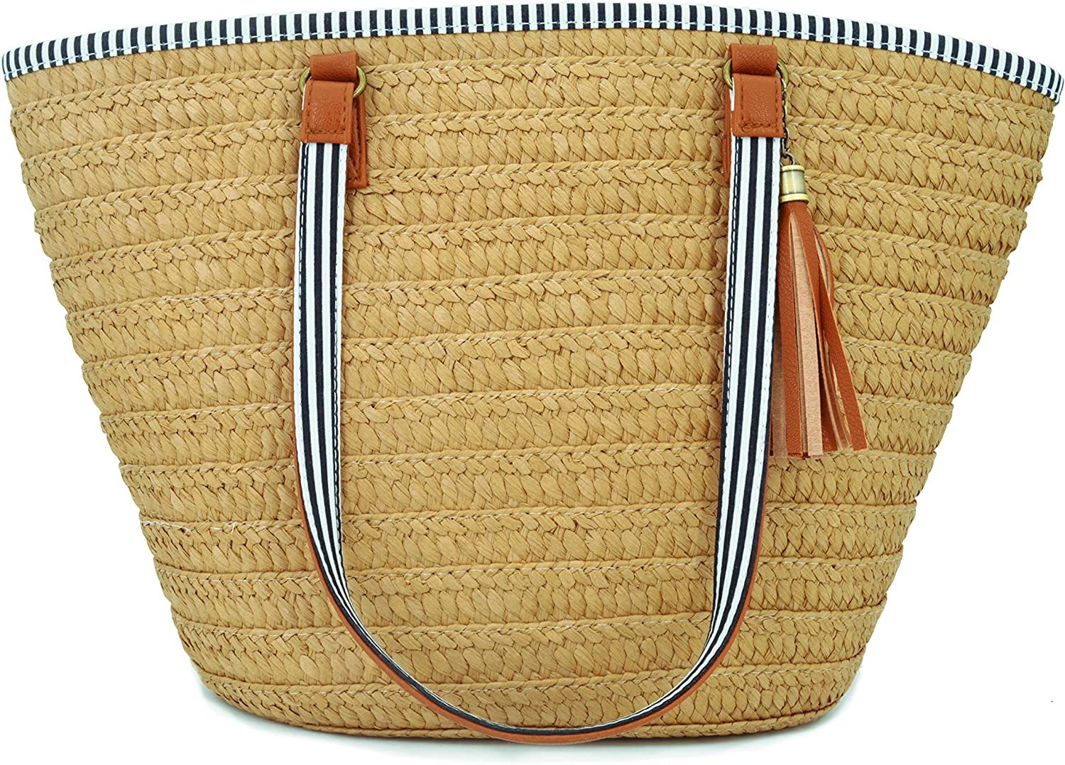 AGNETA Women's Simple and Fashionable Tassel Tote OneShoulder Straw Woven Shoulder Bag