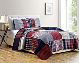 Chezmoi Collection Grizzly 3-Piece Plaid Checkered Quilted 100% Soft Cotton Reversible Bedspread Quilt Set, Cotton, Patchw...