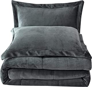 Chezmoi Collection FS200 3-Piece Micromink Sherpa Reversible Down Alternative Comforter Set (King, Gray)