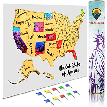 Us Visited States Map Amazon.com: Travelisimo Scratch off Map of the United States