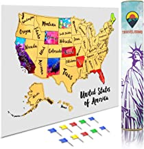 Travelisimo Scratch off Map of the United States, 12x17 US Watercolor Poster for Road Trip, USA Travel Accessories, 10 Flags Included for Next Visited States
