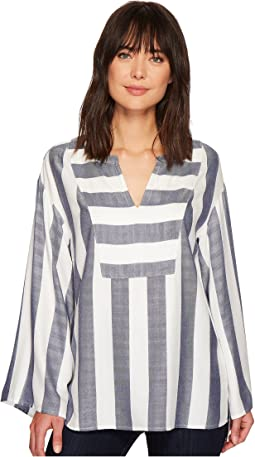 TWO by Vince Camuto - Bell Sleeve Refined Herringbone V-Neck Shirt