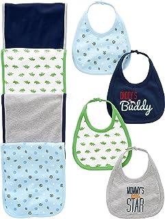 شادابی ساده بوستون 8-Pack Burp و Set Bib Baby Boys
