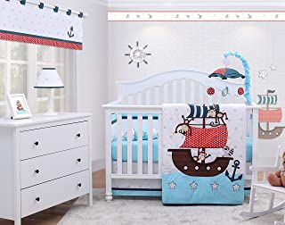 OptimaBaby 6 Piece Baby Nursery Crib Bedding Set, My Little Pirates, Blue/White/Gray/Red/Brown/Black