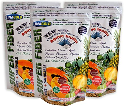 All Natural Super Fiber - Flaxseed, Pineapple, Papaya, Cactus and Psyllium Powder Blend - 3 PACK (15oz Bags)