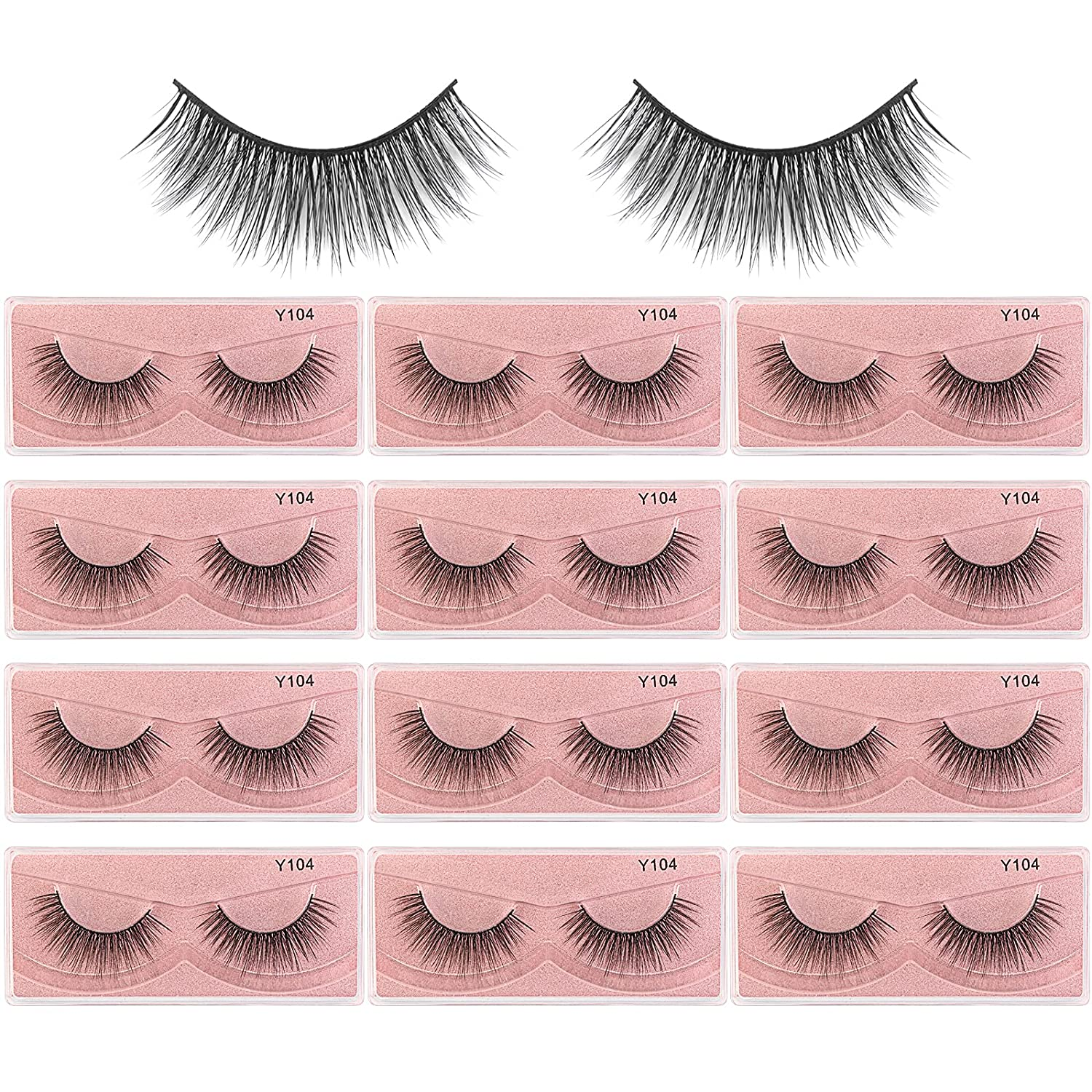 MAGEFY Eyelashes 12 Pairs 1 Style Faux Lashe Natural Ranking discount TOP8 Fluffy Mink