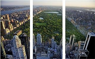 "Pingo World 0817QHWTM0Y New York City Central Park Skyline Gallery Wrapped Canvas Wall Art Triptych 48""x30"", 48"" x 30"", Va..."