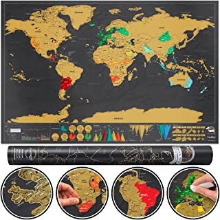Luckies of London Scratch off Map World Poster, Detailed Map of the World with capitals, states, cities, Scratch Map Delux...