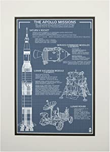 Apollo Missions, Blueprint 31259 (11x14 Double-Matted Art Print, Wall Decor Ready to Frame)