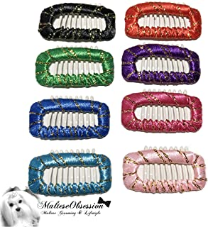 Mini Comb Ribbon Wrapped Snappy Snap Hair Clip for Maltese (Set of 8), Yorkshire, Puppy - Jewel Tone Korean Style Dog Hair Bow Comb Snap Clip - Maltese Obsession
