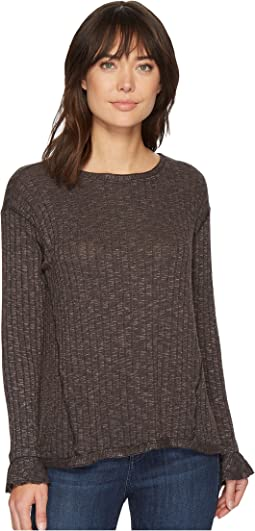 Jasper Poorboy Long Sleeve Crew Neck Top with Flounce Cuff