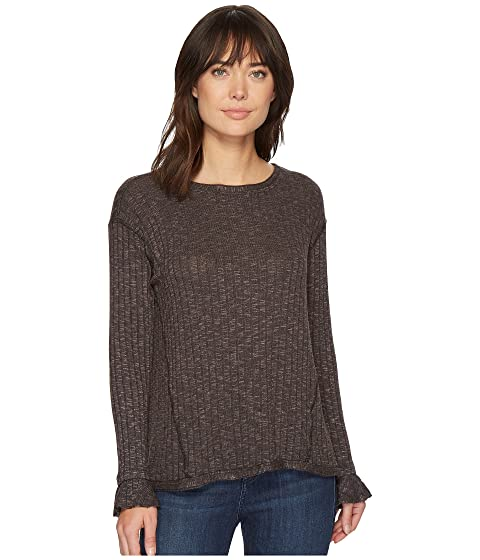 Jasper Poorboy Long Sleeve Crew Neck Top With Flounce Cuff, Galvanized