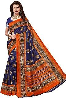 23960e7e30 Yashika women's art silk kalamkari and bhagalpuri style saree with blouse  piece (Multi-Color_Free_Size