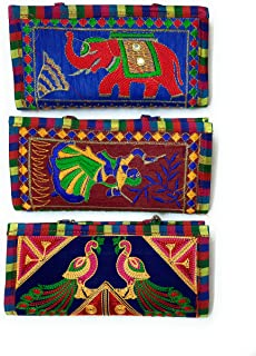 Chircrafts Handicrafts Cotton Embrodery Multicolour Rajasthani Clutch Bag for Women & Girls(combo-3)