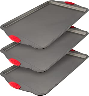 Nonstick Baking Sheet Pan (Set Of 3). 100% Non-Toxic Rimmed Stainless Steel Baking Sheet, No Chemicals or Aluminum. Dent, Warp & Rust Resistant Heavy Gauge Steel Oven Baking Sheet