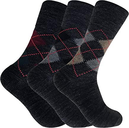 3 Pack Mens Loose Wide Top Non Elastic Lambs Wool Blend Argyle Business Socks