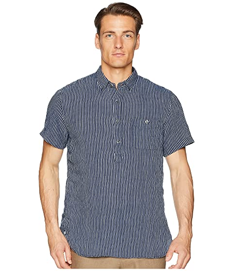 TODD SNYDER Short Sleeve Popover Stripe Shirt, Indigo