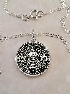 Aztec Calendar .925 Sterling Silver Necklace
