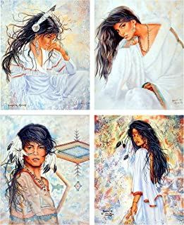 Indian Maiden Wall Decor Native American Vintage Women 16x20 Four Set Art Print Posters