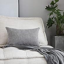 """Kevin Textile Cushion Cover Handmade Faux Linen Cushion Case Soft Lumbar Throw Pillowcase for Chair/Couch, 12""""x20"""", 2 Pc, ..."""