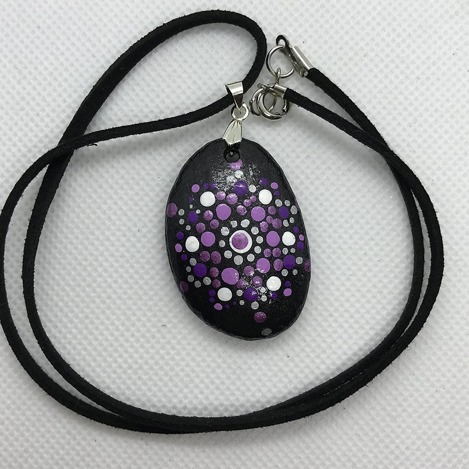 Exquisite hand painted stone pendant a with cor Tucson Mall necklace leather Max 72% OFF