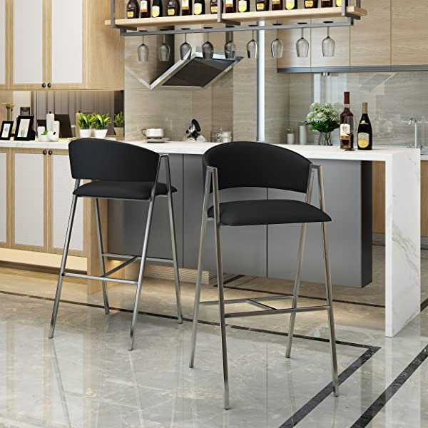 Christopher Knight Home 303599 Emily Modern Black Leather 28 25 Inch Barstool Set Of 2