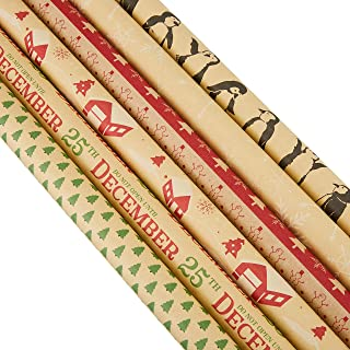 30 x 120 Inches Gift Wrapping Papers - 6-Pack Christmas Kraft Wrapping Paper Set, Xmas Paper Roll, Great for Wrapping Presents for Birthdays, Holiday, Christmas, Baby Shower, 6 Designs, 2.5 x 10 Feet