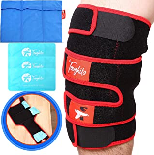 TOUGHITO Hot & Cold Knee Ice Pack Wrap � Compression Knee Wrap for Knee Pain, Swelling, and Recovery with 3 Reusable Hot/Cold Gel Packs with Ice Pack Sleeve � Comfy Ice Pack Wrap with Knee Support