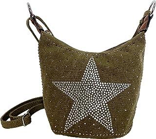 Small STERN Strass Glitzer Star Damen kleine Tasche Canvas Stoff Fashion Henkeltasche Schultertasche Stofftasche Mini Mädchen