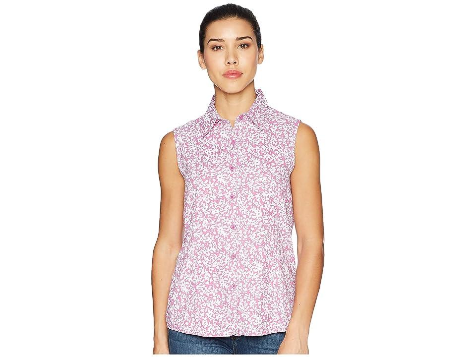 White Sierra Gobi Desert Sleeveless Printed Shirt (Orchid) Women