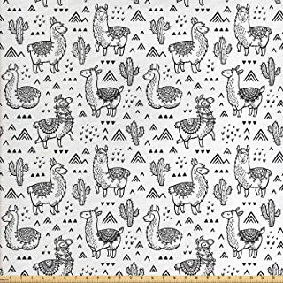 Ambesonne Llama Fabric by The Yard, Abstract Triangles with Doodle Style Alpacas in Monochrome Cartoon Pattern, Decorative Fabric for Upholstery and Home Accents, 2 Yards, White Charcoal