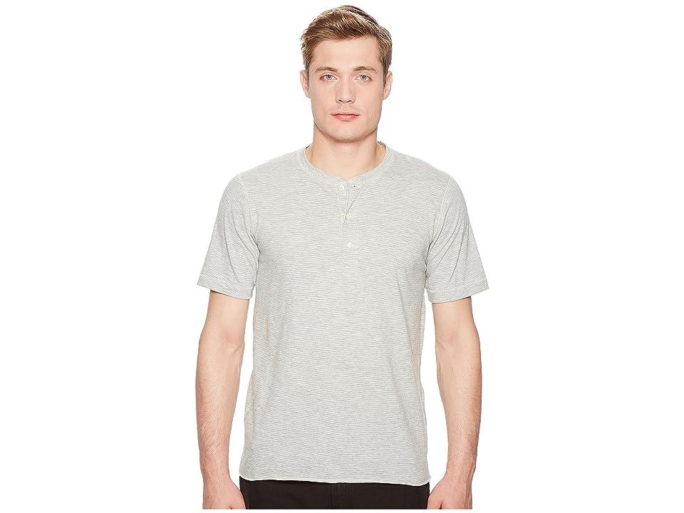 Image of Billy Reid Short Sleeve Hunter Henley (Light Grey) Men's Clothing