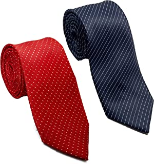 Luxeis Men Premium Neck Tie Combo (Navy Blue, Red; Free Size) (Pack of 2)
