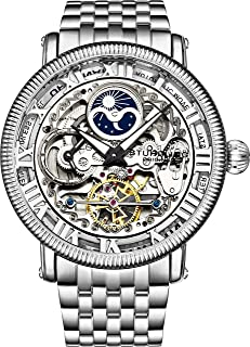 Stührling Original Mens Automatic Watch, Skeleton Watch Analog Dial, Silver Accents, Dual Time, AM/PM Sun Moon, Stainless Steel Bracelet, 3922 Watches for Men Collection