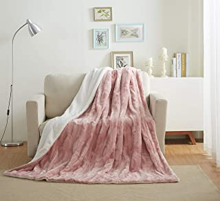 Tache 50×60 Faux Fur Blush Light Dusty Rose Gold Pink Super Soft Warm Throw Blanket