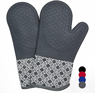 Oven Gloves Heat Resistant Silicone Shell Kitchen for 500 Degrees with waterproof, Set of 2 Oven Mitts with cotton lining ...