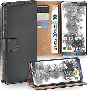 MoEx® Funda Cartera [protección 360°] Compatible con Samsung Galaxy Note 2 | Cierre magnético, Gris foncé