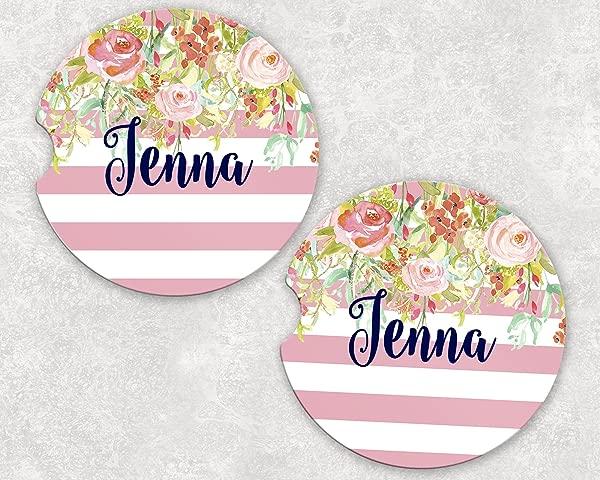 Monogrammed Car Coasters Absorbent Sandstone Pink Stripe Floral Drop SET Of 2