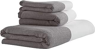 Rivet Contemporary Striped Cotton Bathroom Towel Set - Set of 3, Charcoal