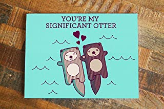 Cute Otters Holding Hands Love Card -