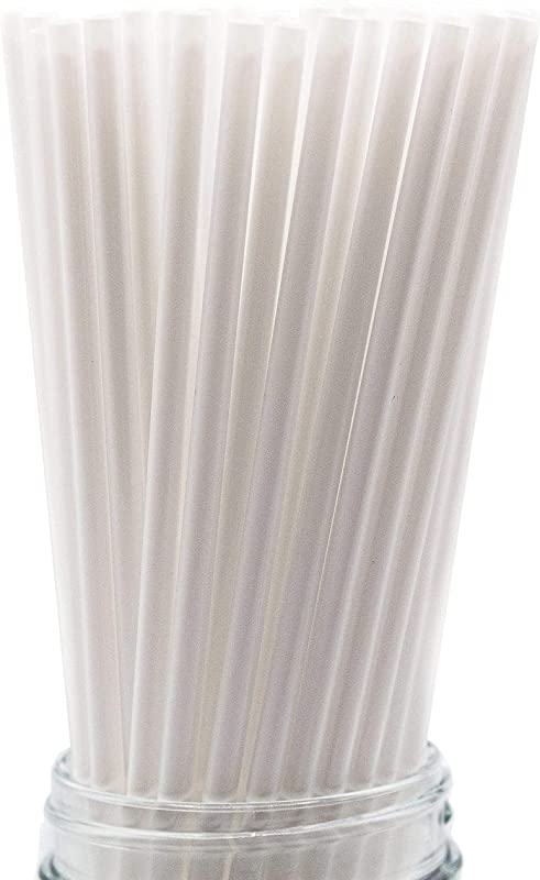 Made In USA Pack Of 100 White Slim Tall Plastic Smoothie 10 X 0 21 Drinking Straws FDA Approved Non Toxic BPA Free