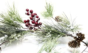 CraftMore Winter Smokey Pine Christmas Garland with Snow, Berries and Pine Cones