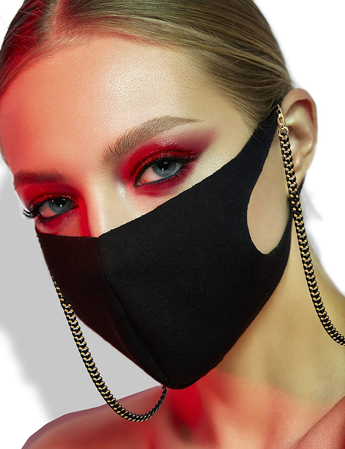 Face Mask Chain Women Necklace - Mask Holders Around Neck for Women, Black and Gold Chain Necklace Mask Retainer, Mask Strap Extender, Lanyard for Face Mask, Jewelry Chain Mask Accessories, Cuban Link Chain Holder